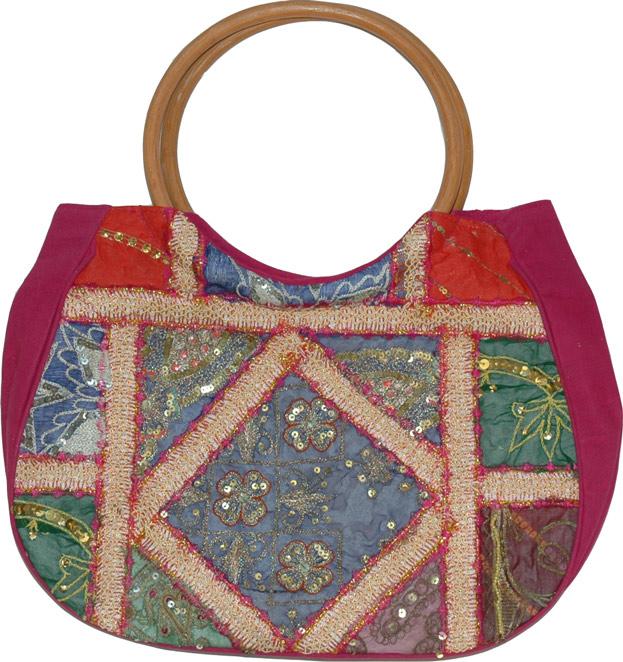 Womens Sequined Handbag, Claret Womens Handbag