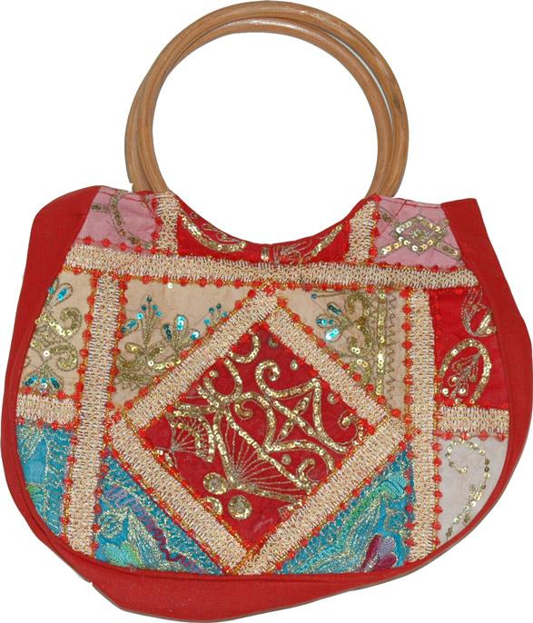 Hobo Sequin Bag in Dark Red, Red Patchwork Sequined Bag