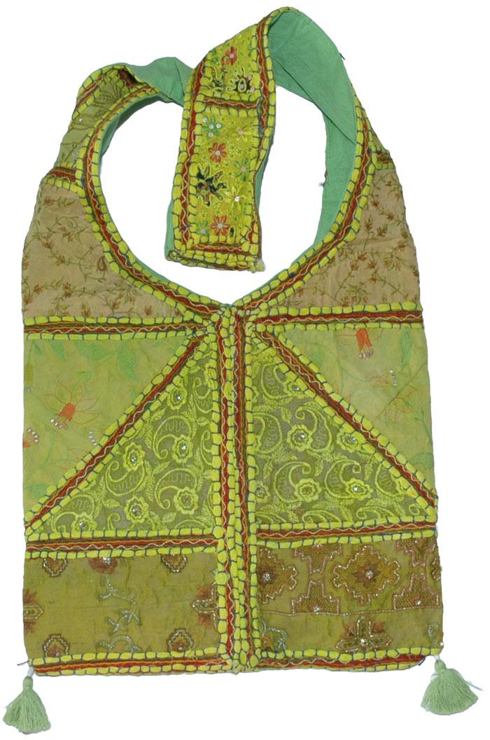 Bohemian Shoulder Bag in Green Envy, Green Patch Bohemian Shoulder Bag