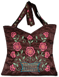 Brown Floral Silk Handbag