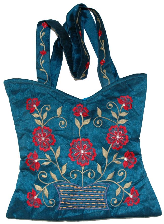 Floral Blue Embroidered Handbag, Blue Chill Floral Silk Handbag