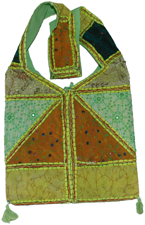 Green Boho Indian long shoulder bag, Green with Envy Bohemian Shoulder Bag