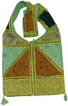 Green Boho Indian long shoulder bag [3077]