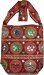 Red Cotton Embroidered Handbag