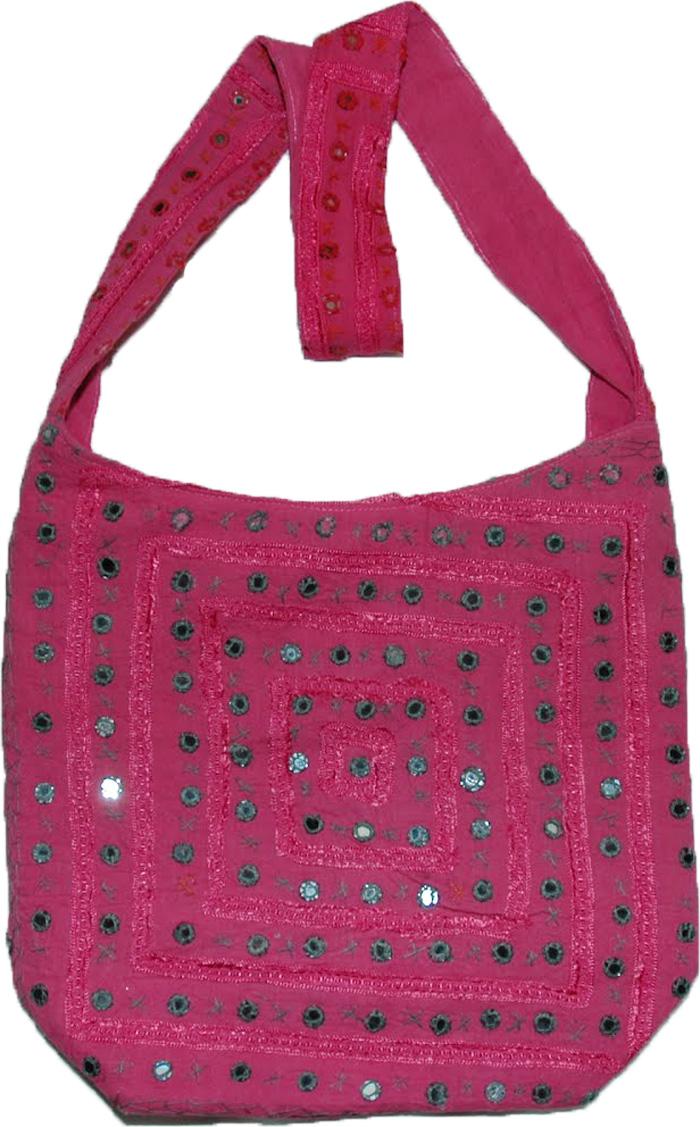 Pink Embroidered purse with mirrors, Hibiscus Mirrorwork Handbag