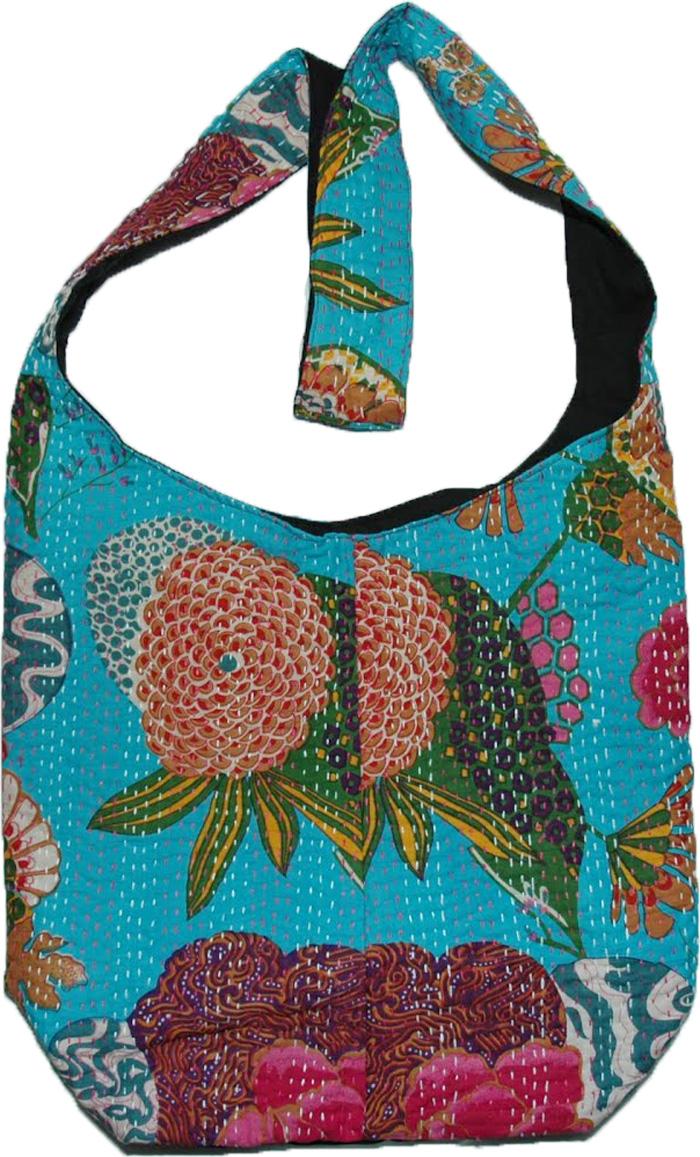 Floral Indian Shoulder Bag , Floral Coral Print Shoulder Bag