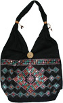 Black Embroidered Purse with Mirrors [3155]