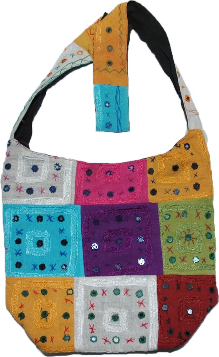 Indian Patchwork Embroidered Handbag, Rainbow Patchwork Handbag