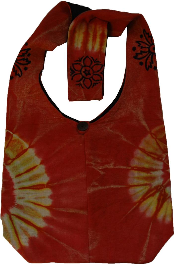 Tie Dye Orange Red Indian Shoulder Bag , Tie Dye Flare Shoulder Bag