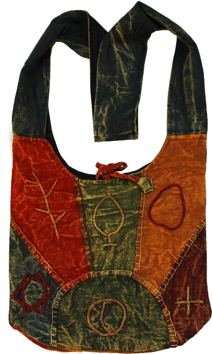 Bohemian Sling Handbag, Stone Wash Embroidered Handbag