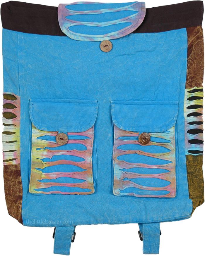 Tie Dye Patchwork Shoulder Bag , Viking Razor Cut Backpack