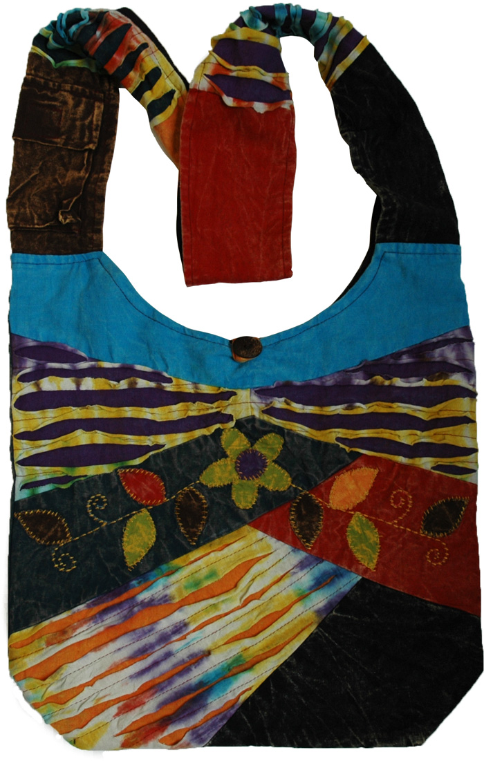 Tie Dye Patchwork Shoulder Bag , Bohemian Razor Tie Dye Shoulder Bag