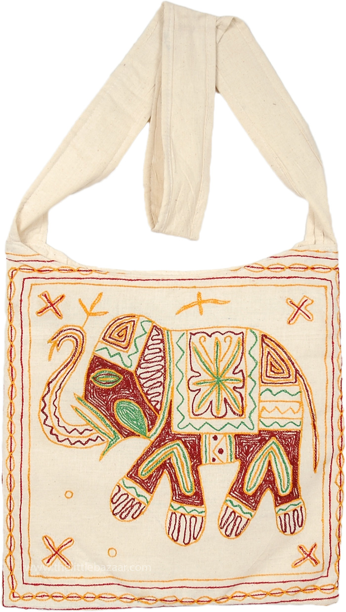 Boho Sling Bag in Creamy White Punch with Embroidered Elephant