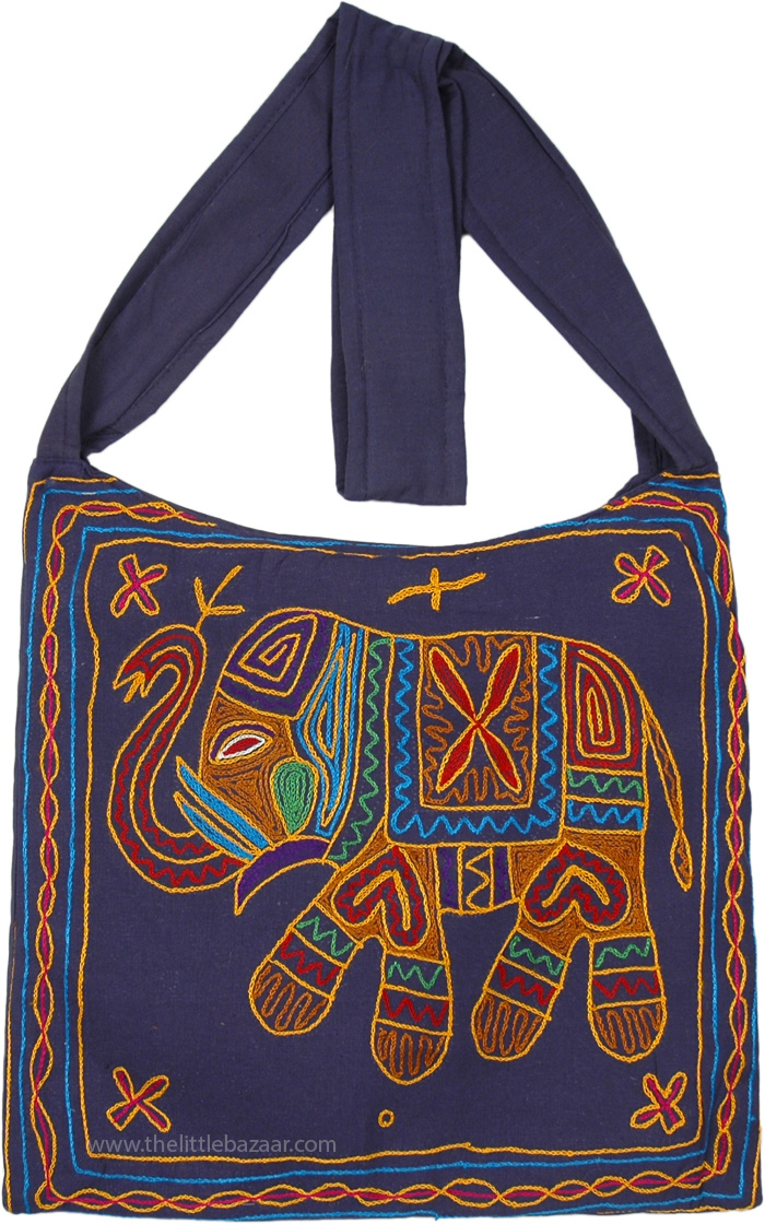 Colorfully Embroidered Midnight Blue Bohemian Hippie Bag