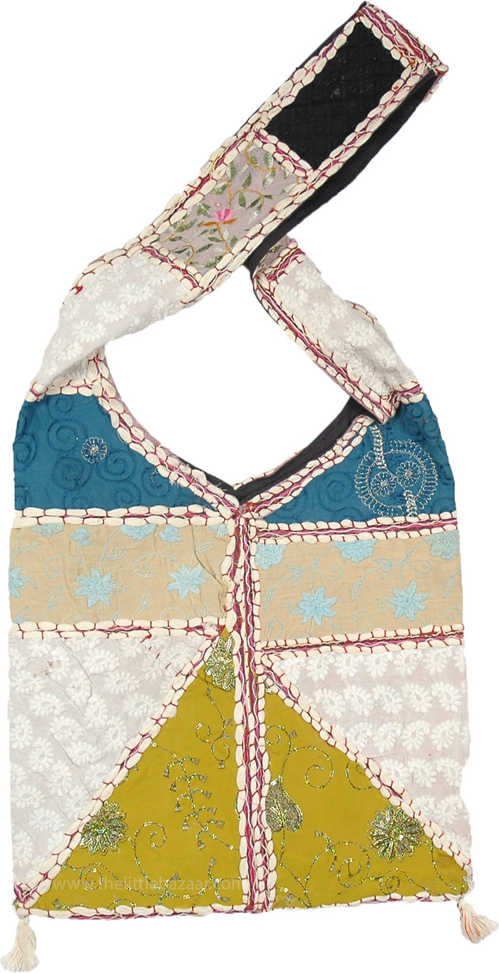 White Embroidered Bag with Blue and Green Patches