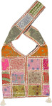 Square Patchwork Hippie Sachet Bag in Pink and Orange