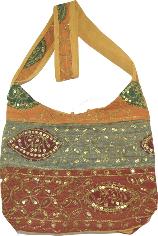 Bohemian handbag purse to go with all bohemian chic clothing - Detailed with patchwork and sequins, Bohemian Boho Sequined Shoulder Handbag