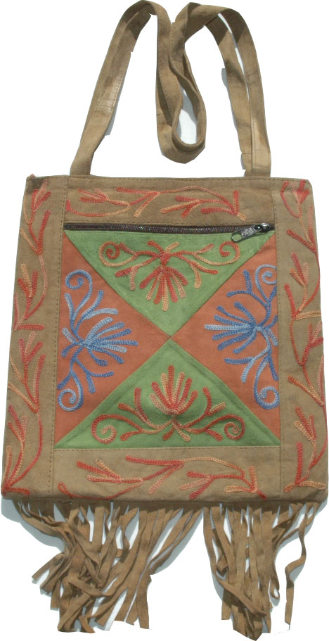 Suede Leather Embroidered Handbag Purse