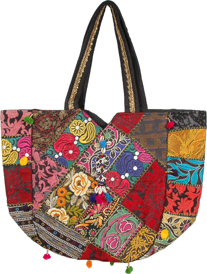 Vintage embroided floral hand shoulder bag with pom poms