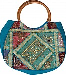 Blue Patchwork Sequined Bag
