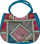 Blue Patchwork Sequined Purse Bag