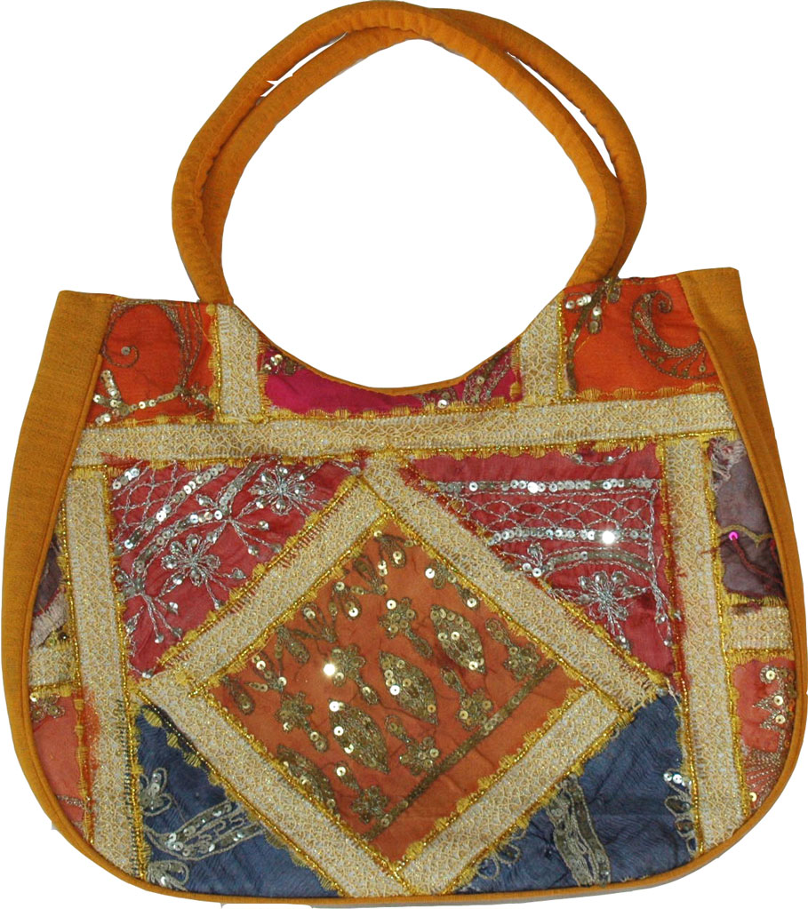 This handbag handmade and is embroidered in golden thread with sequins - Handbag womens in rich and vibrant colors, Mustard Patchwork Sequined Purse Bag