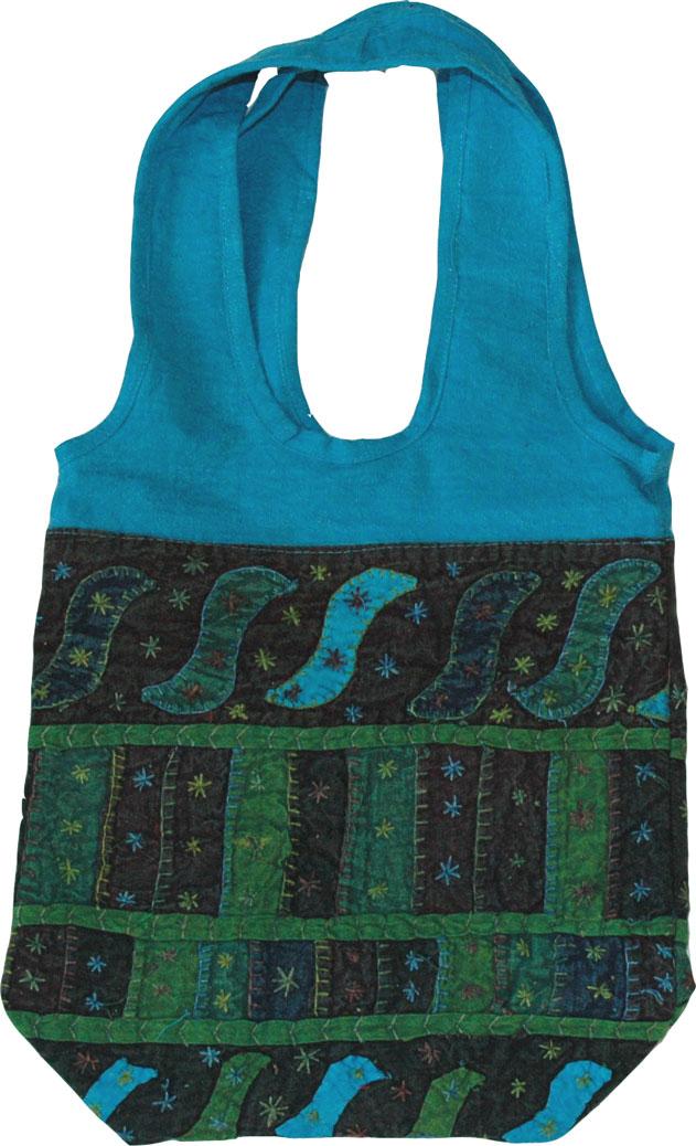 Handbag womens in rich and vibrant colors, Patchwork Blue Shoulder Bag