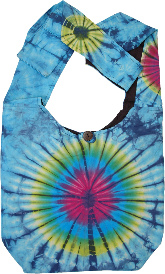 Cosmic Burst Tie Dye Cotton Shoulder Bag
