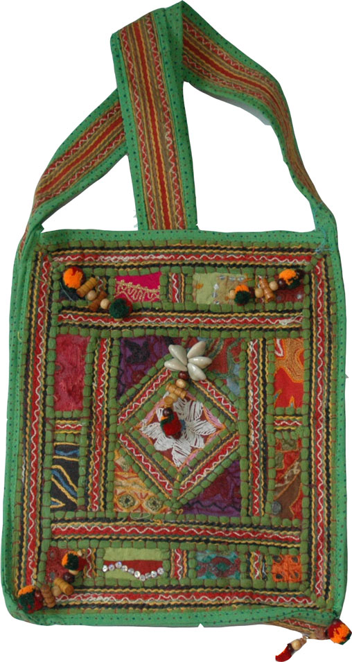 Embroidered Patchwork Book Bag