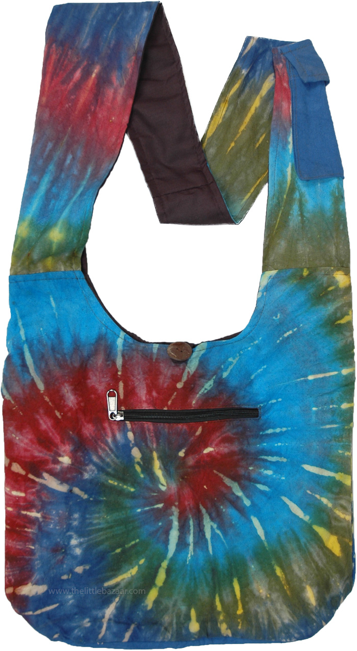 Vibrant Wave Tie Dye Cotton Shoulder Bag