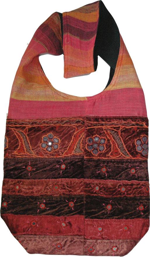 Ethnic handbag with mirrors, Pink Velvet Womens Handbag