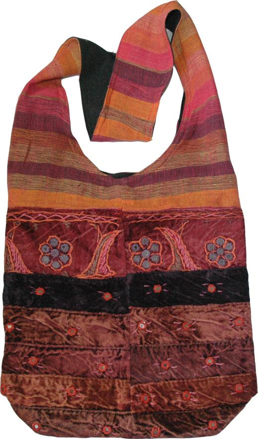 Pink Purple Orange Womens Shoulder Bag, Cloth Mirrors Shoulder Bag