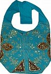 Turquoise Golden Handbag with Sequins