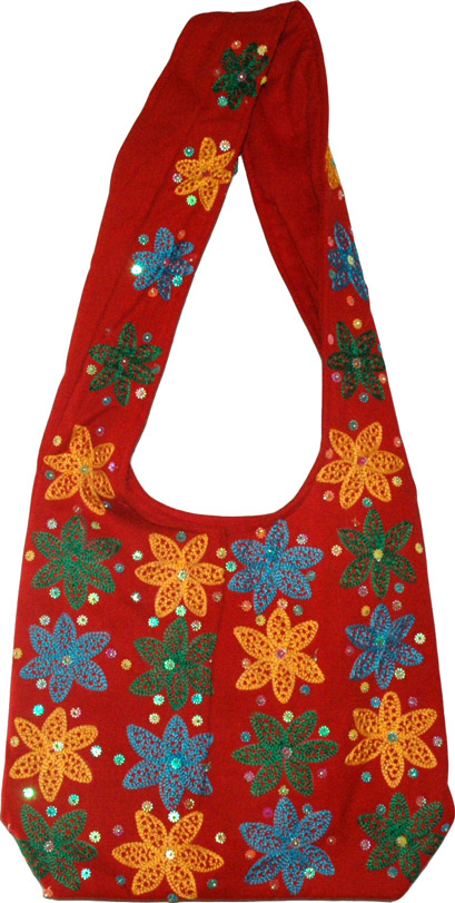 Tamarillo Red Embroidered Handbag Purse with Sequins