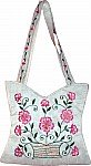 White Floral Silk Handbag