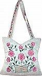 White Floral Silk Handbag