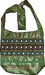 Shiny Green Embroidered Handbag
