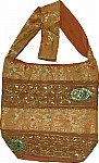Brown Shoulder Bag with Sequins