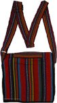Multicolored Striped Cotton Sling Bag with Zipper Pocket