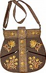 Embroidered Brown Cross Body Bag with Adjustable Strap
