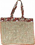 Reversible Burlap Reusable Shopping Bag