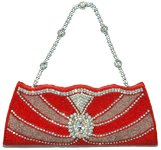 Red Rhinestone Beaded Formal Party Purse