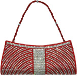 Red Beads Party Purse with Shiny Rhinestone Work