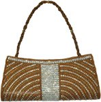 Raw Sienna Golden Beaded Bohemian Purse