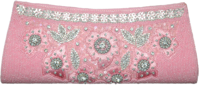 Blush Crush Baby Pink Beaded Party Clutch Purse