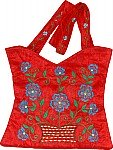 Royal Red Floral Silk Handbag