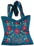 Blue Chill Floral Silk Handbag