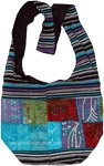 Boho Chic Side Sling Bag with Applique Work and Stripes