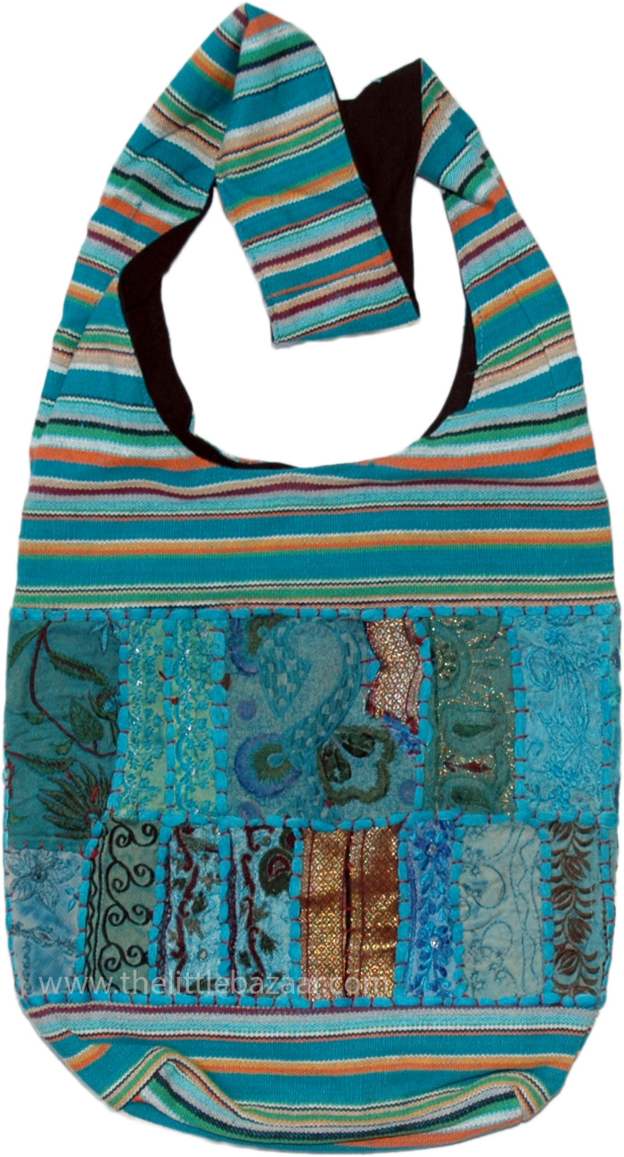 Columbia Blue Gypsy Patchwork Side Bag