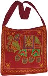 Falu Red Animal Embroidery Handbag